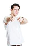 Νεαρός άνδρας που δείχνει ένα δάχτυλο Στοκ Εικόνα