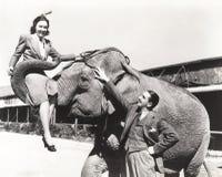 Νεαρός άνδρας που εξετάζει τη γυναίκα που ανυψώνεται από τον ελέφαντα Στοκ φωτογραφία με δικαίωμα ελεύθερης χρήσης