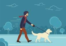 Νεαρός άνδρας που περπατά υπαίθρια με το σκυλί του το βράδυ διανυσματική απεικόνιση