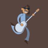 Νεαρός άνδρας που πηδά με την κιθάρα Στοκ φωτογραφίες με δικαίωμα ελεύθερης χρήσης