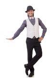 Νεαρός άνδρας στο γκρίζο πουκάμισο και μαύρο καπέλο που απομονώνεται επάνω Στοκ φωτογραφίες με δικαίωμα ελεύθερης χρήσης