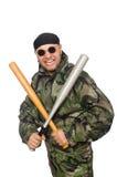 Νεαρός άνδρας στο ομοιόμορφο ρόπαλο εκμετάλλευσης στρατιωτών Στοκ φωτογραφία με δικαίωμα ελεύθερης χρήσης