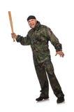 Νεαρός άνδρας στο ομοιόμορφο ρόπαλο εκμετάλλευσης στρατιωτών Στοκ εικόνες με δικαίωμα ελεύθερης χρήσης