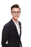 Νεαρός άνδρας στο πορτρέτο γυαλιών που απομονώνεται στο λευκό Στοκ φωτογραφίες με δικαίωμα ελεύθερης χρήσης