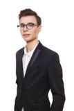 Νεαρός άνδρας στο πορτρέτο γυαλιών που απομονώνεται στο λευκό Στοκ εικόνα με δικαίωμα ελεύθερης χρήσης