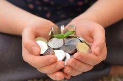 Νεαρός βλαστός ηλίανθων στα χέρια με τα ολυμπιακά 50p νομίσματα Στοκ Εικόνες