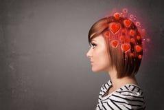 Νεαρό άτομο που σκέφτεται για την αγάπη με τις κόκκινες καρδιές απεικόνιση αποθεμάτων