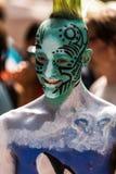 ΝΕΑ ΥΌΡΚΗ - 26 ΙΟΥΛΊΟΥ: Τα Nude πρότυπα, καλλιτέχνες παίρνουν στην πόλη της Νέας Υόρκης τις οδούς κατά τη διάρκεια του πρώτου επί Στοκ Φωτογραφία
