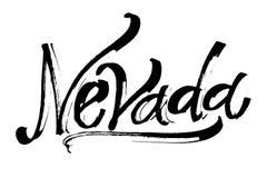Νεβάδα Σύγχρονη εγγραφή χεριών καλλιγραφίας για την τυπωμένη ύλη Serigraphy Στοκ Εικόνες