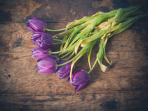 Νεκρά λουλούδια στον ξύλινο πίνακα Στοκ Φωτογραφίες