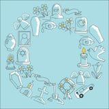 Νεκρικό λεπτό εικονίδιο γραμμών Το σύνολο νεκρικών διανυσματικών εικονιδίων Doodle αντικειμένων ΣΧΙΖΕΙ Στοκ εικόνες με δικαίωμα ελεύθερης χρήσης