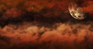 Νεκροταφείο τη νύχτα με τις ταφόπετρες με τα κρανία και το νεφελώδη ουρανό Ful απεικόνιση αποθεμάτων