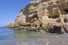 Νεκρόπολη Matala, Κρήτη Στοκ φωτογραφίες με δικαίωμα ελεύθερης χρήσης