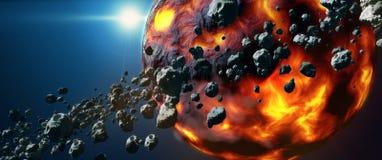 Νεκρός καυτός πλανήτης λάβας και αστεροειδής ζώνη Στοκ φωτογραφία με δικαίωμα ελεύθερης χρήσης