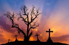 Νεκρό δέντρο τρομακτικών σκιαγραφιών και απόκοσμοι σταυροί σκιαγραφιών με την έννοια αποκριών Στοκ Φωτογραφίες