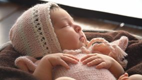 image photo : Sleeping Newborn Baby. 4k