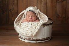 Νεογέννητο κορίτσι που φορά ένα καπό λαγουδάκι στοκ εικόνα