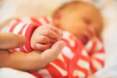 Νεογέννητο μωρό στο πιάσιμο χεριών της μητέρας στοκ εικόνα με δικαίωμα ελεύθερης χρήσης