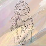 νεολαίες ανάγνωσης κοριτσιών βιβλίων επίσης corel σύρετε το διάνυσμα απεικόνισης Στοκ εικόνες με δικαίωμα ελεύθερης χρήσης