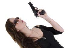 νεολαίες γυναικών πυροβόλων όπλων Στοκ Φωτογραφία