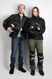 νεολαίες γυναικών στούντιο μοτοσυκλετιστών ανδρών Στοκ φωτογραφίες με δικαίωμα ελεύθερης χρήσης