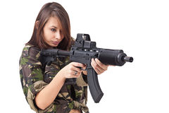 νεολαίες γυναικών στρατιωτών πυροβόλων όπλων Στοκ Εικόνες