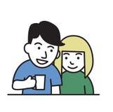 νεολαίες ζευγών Τύπος που κρατά μια κούπα, χαμογελώντας το κορίτσι Επίπεδο εικονίδιο σχεδίου Ζωηρόχρωμη επίπεδη διανυσματική απει διανυσματική απεικόνιση