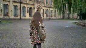 Νεολαίες που γοητεύουν τη γυναίκα σπουδαστή με τη μακρυμάλλη στροφή γύρω από και τη μετάβαση στο πανεπιστήμιο, που περπατά στο πά φιλμ μικρού μήκους