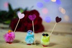 Νεοσσοί με τις καρδιές για το βαλεντίνο, γάμος, Πάσχα στοκ εικόνα με δικαίωμα ελεύθερης χρήσης