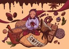 Νεράιδα καφέ γιόγκας διανυσματική απεικόνιση