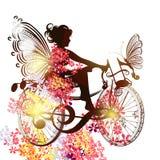 Νεράιδα λουλουδιών σε ένα σύμβολο ποδηλάτων της έμπνευσης μουσικής Στοκ Εικόνα