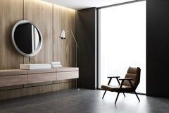 Νεροχύτης και καθρέφτης στο ξύλινο λουτρό, πολυθρόνα διανυσματική απεικόνιση