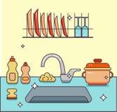 Νεροχύτης κουζινών με το σκεύος για την κουζίνα Στοκ εικόνα με δικαίωμα ελεύθερης χρήσης