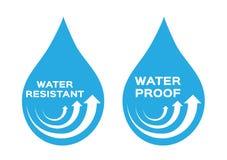 Νερό ανθεκτικό και λογότυπο απόδειξης, εικονίδιο και διάνυσμα Μπλε έκδοση στοκ εικόνα με δικαίωμα ελεύθερης χρήσης