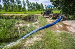 Νερό αντλιών στους τομείς ρυζιού της Jasmine Στοκ Εικόνες