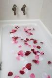 Νερό λουτρών με τα ροδαλά πέταλα Στοκ φωτογραφία με δικαίωμα ελεύθερης χρήσης