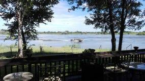 Νερό ποταμού μπροστινή Ζάμπια Ζαμβέζη Στοκ Φωτογραφίες