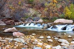 Νερό που διατρέχει του ποταμού της Virgin στο εθνικό πάρκο Zion στις ΗΠΑ στοκ φωτογραφίες με δικαίωμα ελεύθερης χρήσης