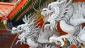 Νερό ψεκασμού αγαλμάτων δράκων στον κινεζικό ναό απόθεμα βίντεο