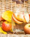 Νερό Detox με τα μήλα Σύνθεση φθινοπώρου με τα φύλλα και appl Στοκ Εικόνες