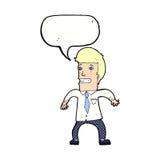νευρικός επιχειρηματίας κινούμενων σχεδίων με τη λεκτική φυσαλίδα Στοκ εικόνα με δικαίωμα ελεύθερης χρήσης