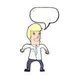 νευρικός επιχειρηματίας κινούμενων σχεδίων με τη λεκτική φυσαλίδα Στοκ Εικόνα