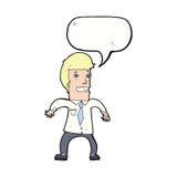 νευρικός επιχειρηματίας κινούμενων σχεδίων με τη λεκτική φυσαλίδα Στοκ εικόνες με δικαίωμα ελεύθερης χρήσης