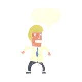 νευρικός επιχειρηματίας κινούμενων σχεδίων με τη λεκτική φυσαλίδα Στοκ φωτογραφία με δικαίωμα ελεύθερης χρήσης