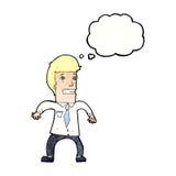 νευρικός επιχειρηματίας κινούμενων σχεδίων με τη σκεπτόμενη φυσαλίδα Στοκ φωτογραφία με δικαίωμα ελεύθερης χρήσης