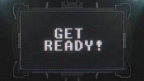 Νευρικό αναδρομικό videogame παίρνει το έτοιμο κείμενο στο φουτουριστικό άνευ ραφής βρόχο ζωτικότητας οθόνης TV Νέος ποιοτικός κα ελεύθερη απεικόνιση δικαιώματος