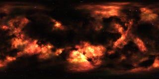 Νεφέλωμα και αστέρια στο μακρινό διάστημα πανόραμα περιβάλλοντος 360 βαθμού Στοκ Φωτογραφία