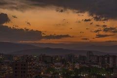 Νεφελώδες ηλιοβασίλεμα Cochabamba Στοκ εικόνα με δικαίωμα ελεύθερης χρήσης