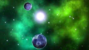 Νεφελώματα με το υπόβαθρο πλανητών βρόχος διανυσματική απεικόνιση