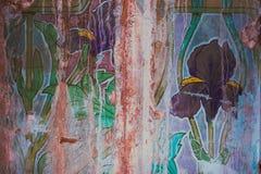 Νεωτεριστικός τοίχος με τη floral τέχνη Στοκ Εικόνες